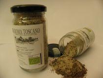 Gewürz-Meersalz aus der Toscana. Eine wunderbare Mischung mit Rosmarin, Salbei, Knobli und Pfeffer (Geheimtipp fürs Frühstücks-Ei) Ein Bio-Produkt aus Italien. Glas à 200 Gramm)